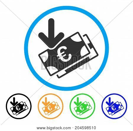 Euro Income Banknotes icon. Vector illustration style is a flat iconic euro income banknotes gray rounded symbol inside light blue circle with black, green, blue, yellow color variants.