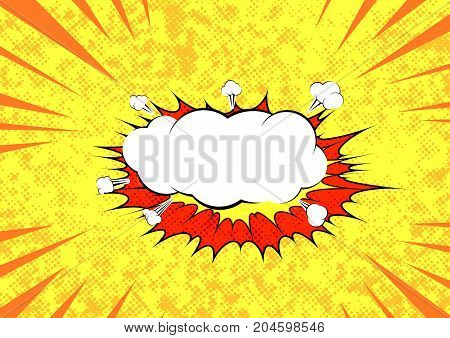 Pop art graphic explosion speed cloud bright retro background template. Comic speech blast bubble. Cartoon sound bubble speech over yellow dotted layout. Vector illustration