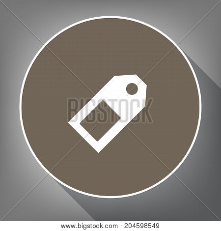 Price tag sign. Vector. White icon on brown circle with white contour and long shadow at gray background. Like top view on postament.