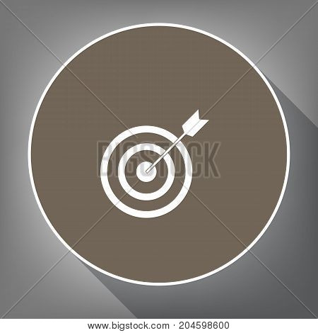 Target with dart. Vector. White icon on brown circle with white contour and long shadow at gray background. Like top view on postament.