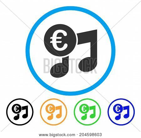 Euro Music Notes icon. Vector illustration style is a flat iconic euro music notes gray rounded symbol inside light blue circle with black, green, blue, yellow color versions.