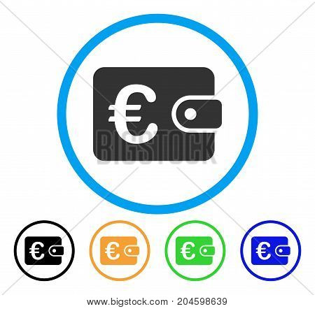Euro Purse icon. Vector illustration style is a flat iconic euro purse grey rounded symbol inside light blue circle with black, green, blue, yellow color variants.