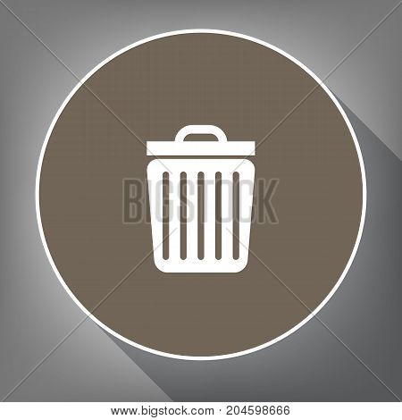Trash sign illustration. Vector. White icon on brown circle with white contour and long shadow at gray background. Like top view on postament.