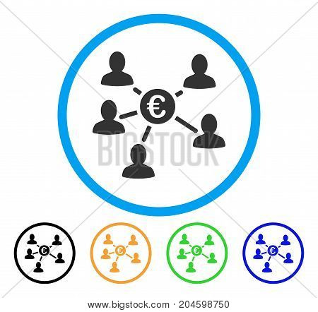 Euro Social Links icon. Vector illustration style is a flat iconic euro social links grey rounded symbol inside light blue circle with black, green, blue, yellow color variants.