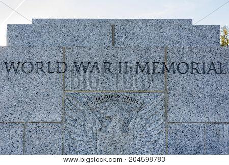 Washington DC, USA, october 29, 2016: World War II Memorial in Washington DC USA