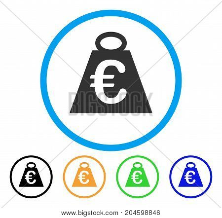 Euro Weight Standard icon. Vector illustration style is a flat iconic euro weight standard grey rounded symbol inside light blue circle with black, green, blue, yellow color versions.