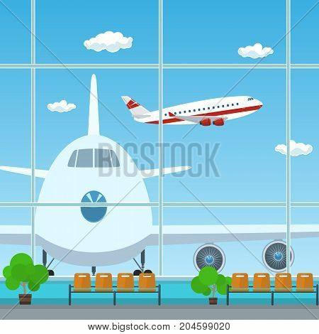 Waiting Room at the Airport , View on Airplanes through the Window from a Waiting Room , Travel Concept, Flat Design, Vector Illustration