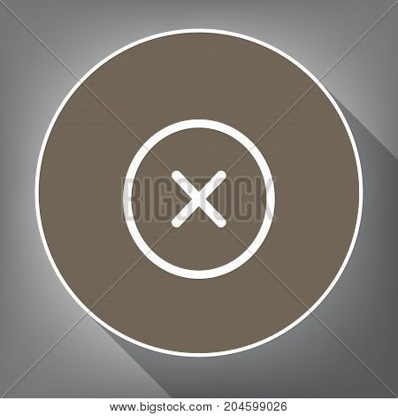 Cross sign illustration. Vector. White icon on brown circle with white contour and long shadow at gray background. Like top view on postament.