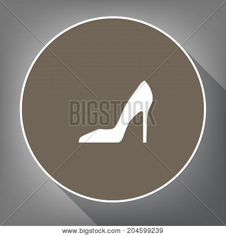 Woman shoe sign. Vector. White icon on brown circle with white contour and long shadow at gray background. Like top view on postament.