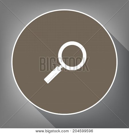 Zoom sign illustration. Vector. White icon on brown circle with white contour and long shadow at gray background. Like top view on postament.