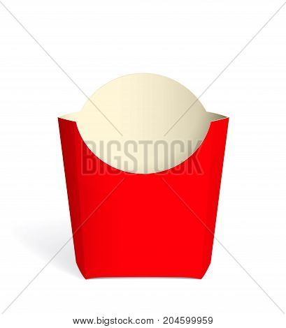 Realistic red Package French fries. Mock up for brand template. vector illustration.