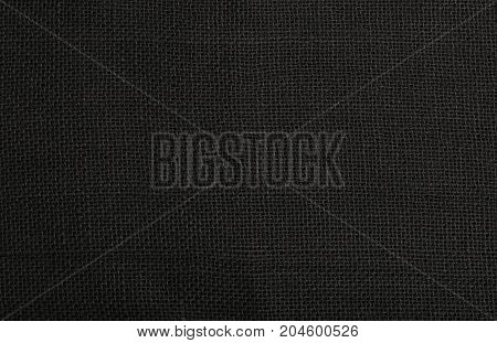 Black Burlap Jute Canvas Background Texture