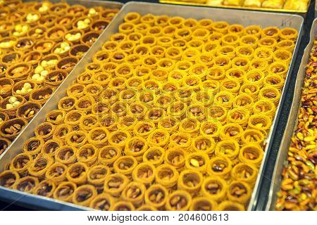 delicious sweets on the shelves of the store