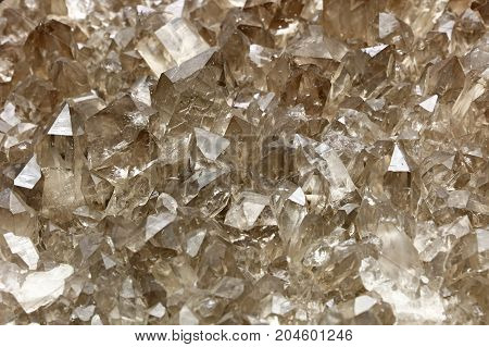 Cluster Of Quartz Mineral Crystals Close Up