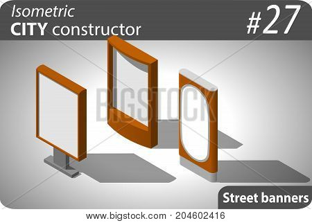 Set of modern isometric street placards. Illustration for your infographic, city, map or business design. Detailed vector clip art with easy editable colors