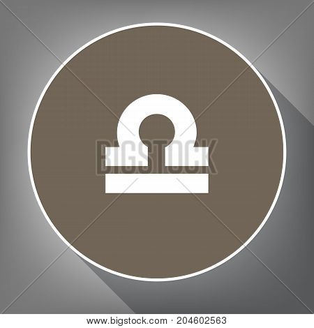 Libra sign illustration. Vector. White icon on brown circle with white contour and long shadow at gray background. Like top view on postament.