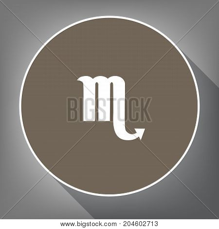 Scorpio sign illustration. Vector. White icon on brown circle with white contour and long shadow at gray background. Like top view on postament.