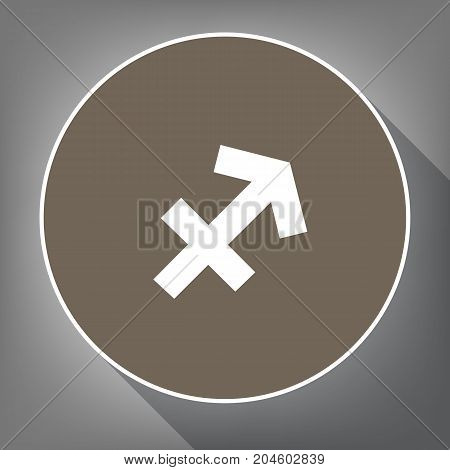 Sagittarius sign illustration. Vector. White icon on brown circle with white contour and long shadow at gray background. Like top view on postament.