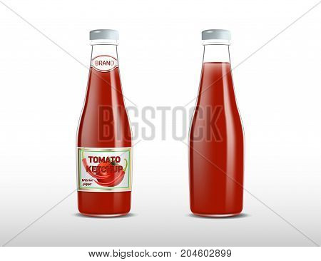 ketchupKetchup products ad. Vector 3d illustration. Spicy tomato ketchup bottles template design and mockup. Sauce brand packages advertisement poster layout. Full glass bottles.