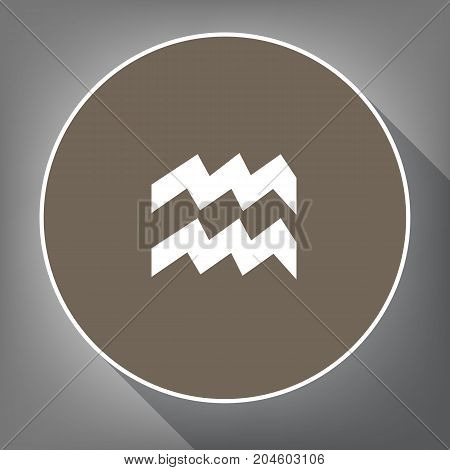 Aquarius sign illustration. Vector. White icon on brown circle with white contour and long shadow at gray background. Like top view on postament.