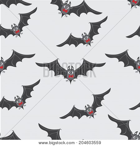 Bats with red bow ties. Happy Halloween. Seamless pattern. Design for textiles, ceramics, packaging materials.