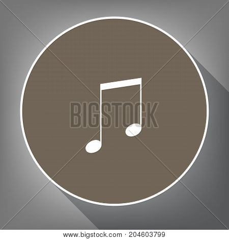 Music sign illustration. Vector. White icon on brown circle with white contour and long shadow at gray background. Like top view on postament.