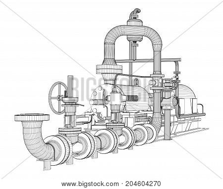 Wire-frame industrial pump. 3D Rendering Vector Illustration