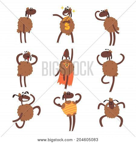 Funny cartoon sheep character set, brown sheep in different situations colorful vector Illustrations on a white background