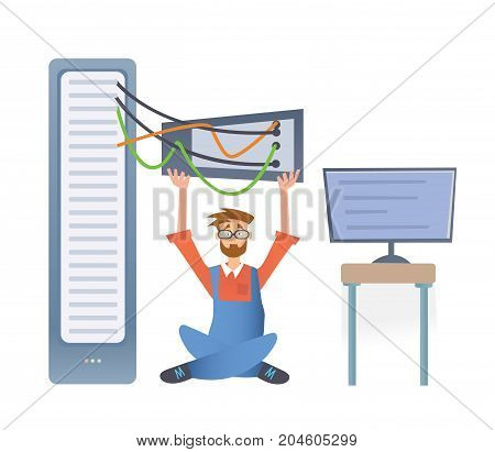 A man working with a computer server or a render farm. Technical specialist in the data center. Vector illustration, isolated on white background.