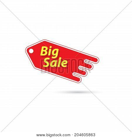 Price tag with a big sale sign. Vector illustration .