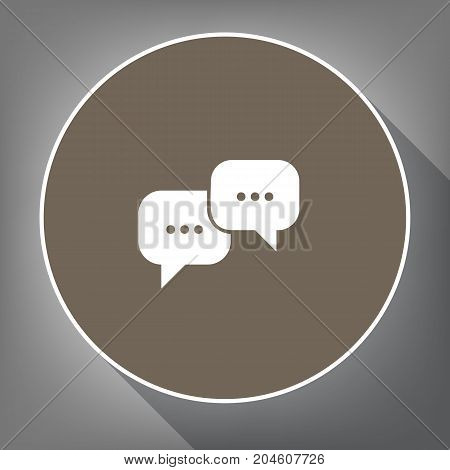 Speech bubbles sign. Vector. White icon on brown circle with white contour and long shadow at gray background. Like top view on postament.