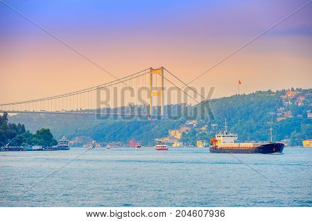 set of the ships passes across the canal Bosphorus on a background the bridge through the passage Istanbul