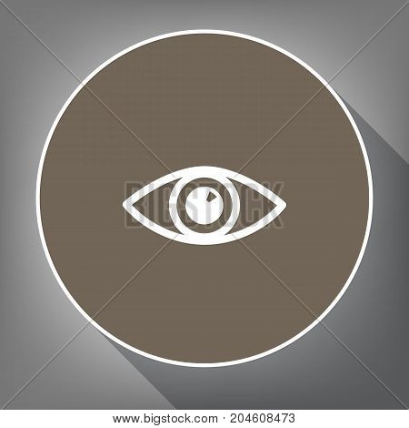 Eye sign illustration. Vector. White icon on brown circle with white contour and long shadow at gray background. Like top view on postament.