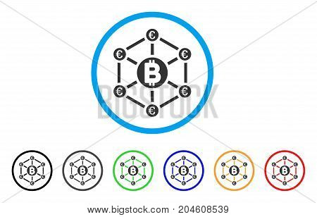 Bitcoin Euro Network rounded icon. Style is a flat bitcoin euro network grey symbol inside light blue circle with black, gray, green, blue, red, orange color versions.