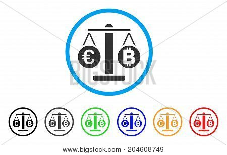 Euro And Bitcoin Scales rounded icon. Style is a flat euro and bitcoin scales gray symbol inside light blue circle with black, gray, green, blue, red, orange variants.