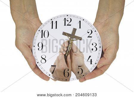 Make Time for Him - Female hands holing a clock face with no hands except a picture of another pair of hands holding a small statue of Christ on the Cross, against a white background