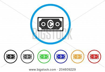 Euro Banknote rounded icon. Style is a flat Euro banknote gray symbol inside light blue circle with black, gray, green, blue, red, orange variants. Vector designed for web and software interfaces.