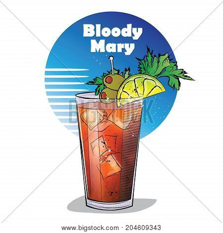 Hand drawn illustration of cocktail. Bloody Mary. Vector illustration