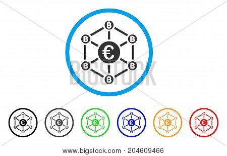 Euro Bitcoin Network rounded icon. Style is a flat Euro bitcoin network gray symbol inside light blue circle with black, gray, green, blue, red, orange variants.