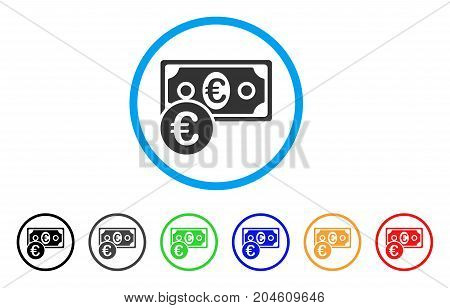 Euro Cash Money rounded icon. Style is a flat Euro cash money gray symbol inside light blue circle with black, gray, green, blue, red, orange color versions.