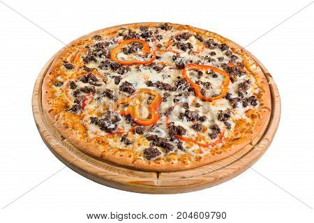pizza with paprika of cheese on wooden board. for a directory or menu.