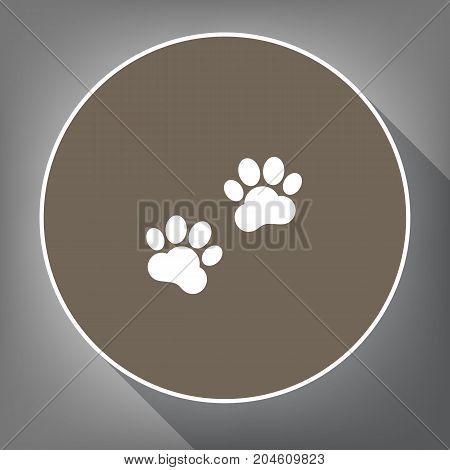 Animal Tracks sign. Vector. White icon on brown circle with white contour and long shadow at gray background. Like top view on postament.