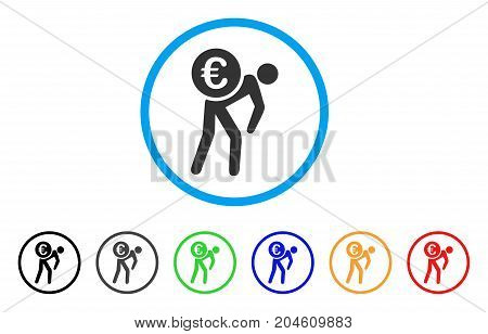 Euro Courier rounded icon. Style is a flat Euro courier gray symbol inside light blue circle with black, gray, green, blue, red, orange variants. Vector designed for web and software interfaces.
