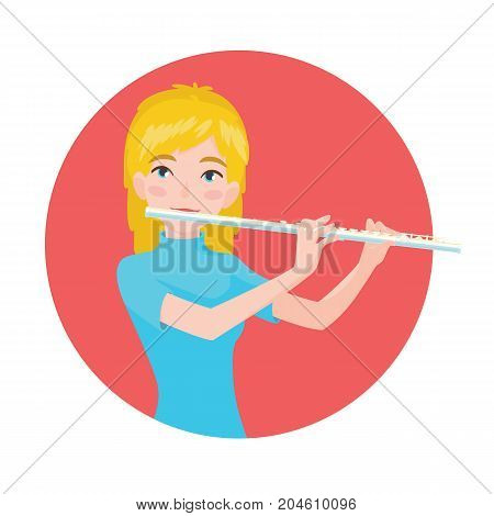 Musician playing flute. Girl flutist is inspired to play a classical musical instrument. Vector illustration in cartoon style in the red circle on white background for your design and print.
