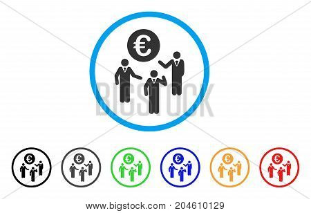 Euro Discussion rounded icon. Style is a flat Euro discussion grey symbol inside light blue circle with black, gray, green, blue, red, orange variants. Vector designed for web and software interfaces.