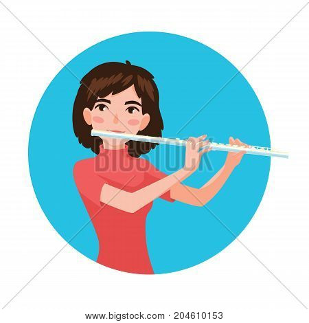 Musician playing flute. Girl flutist is inspired to play a classical musical instrument. Vector illustration in cartoon style in the blue circle on white background for your design and print.