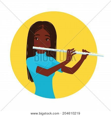 Musician playing flute. Girl flutist is inspired to play a classical musical instrument. Vector illustration in cartoon style in the yellow circle on white background for your design and print.