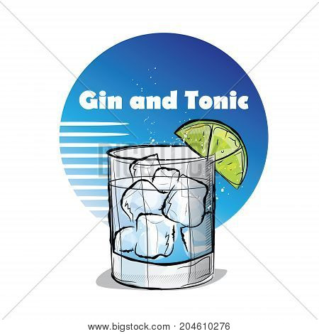 Hand drawn illustration of cocktail. Gin and Tonic. Vector illustration