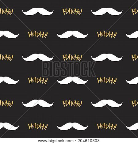 Christmas seamless pattern with Santa's mustache and Ho Ho Ho! lettering in black, white and golden colors