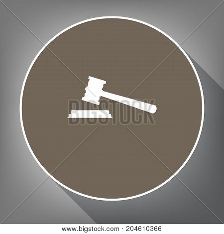 Justice hammer sign. Vector. White icon on brown circle with white contour and long shadow at gray background. Like top view on postament.